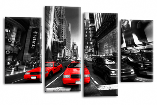 NEW YORK TAXI WALL ART RED WHITE GREY CITY SPLIT CANVAS 4 PANEL